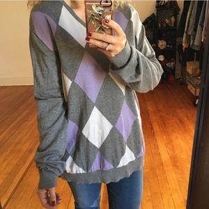 Vintage Oversized Argyle Lavender Slouchy Sweater